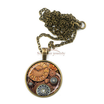 Steampunk Gear Wheel and Clock Pendant Necklace for Women