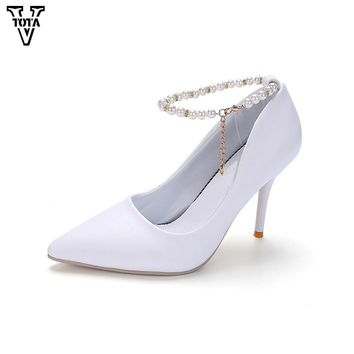 VTOTA 2017 High Heels Women Pumps String Bead Shoes Woman Foot Ring Strap Sexy Women's Shoes Leather Pointed Toe Zapatos Mujer