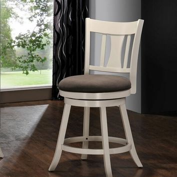 Acme 96213 Tabib white finish wood counter height swivel bar stool with padded seating