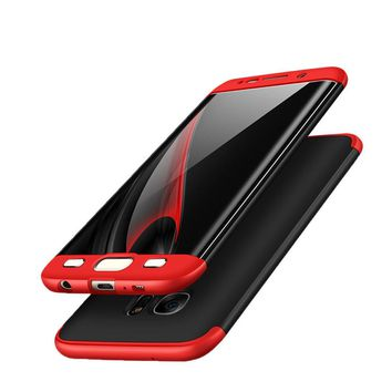 Galaxy S8 Case, AICase 3 in 1 Ultra Thin and Slim Hard PC Case Anti-Scratches Premium Slim 360 Degree Full Body Protective Cover for Samsung Galaxy S8 Case (5.8'')(2017) (Red+Black)