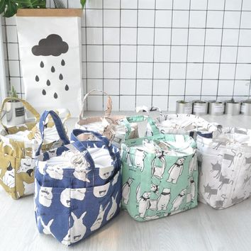 New Portable Drawstring thermal lunch bag with aluminum film Storage bags cotton Box bins small container Handbag for kitchen