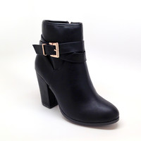 Black Low Boot with Buckle Design and Side Zipper