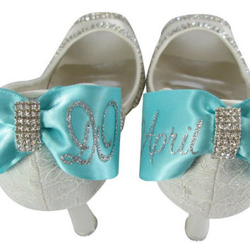 "I Do & Date Wedding Heels /2"" or 3.5"" or 4.5""/ Ivory Bridal High Heels Shoes Mrs New Last name Personalized Peep Toe Satin Rhinestone Bling"