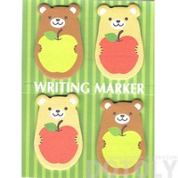 Teddy Bear and Apples Shaped Animal Memo Post-it Writing Markers | Stationery