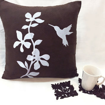 New Home Gift Set. Dark Brown Floral Humming Bird Pillow Cover. With 6 Pieces Stencil Leaves Butterfly Felt Coasters Set