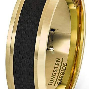 18k Plated Gold Tungsten Wedding Ring With Black Carbon Fiber Comfort Fit  - 8mm