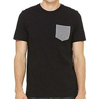 Mens Contrasting Color Pocket Tee Shirt
