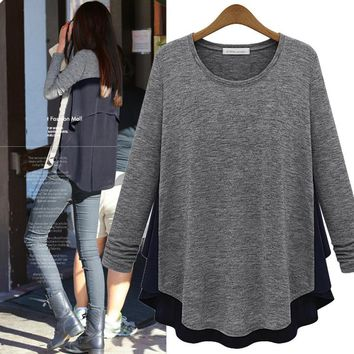 Plus Size Women's Fashion Pullover Tops Round-neck Long Sleeve Patchwork T-shirts [37754699802]