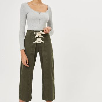 Moto Khaki Lace Up Cropped Jeans | Topshop