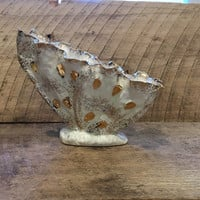 Cream and Gold Mid Century Modern Ceramic Seashell Butterfly Shape