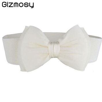 Gizmosty 1 Pcs Women Belt Lace Bowknot Cummerbunds Elastic Bow Wide Stretch Waistband Waist Belt 9 Colors Cotton Belts SY048