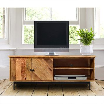 55 Inch Mango Wood TV Stand with 2 Open Compartments, Brown and Black