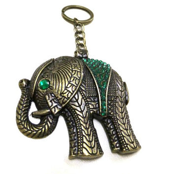 Bronze Elephant Charm/Keyring with Green Rhinestones, Elephant Keyring, Elephant Keychain, Elephant Bag Charm, Car Charm, Good Luck Charm