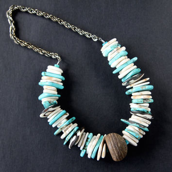 SALE Chunky Magnesite Slice Necklace Turquoise and Cream with Vintage African Spindle Bead and Batik Bone Discs Ethnic Boho Jewelry