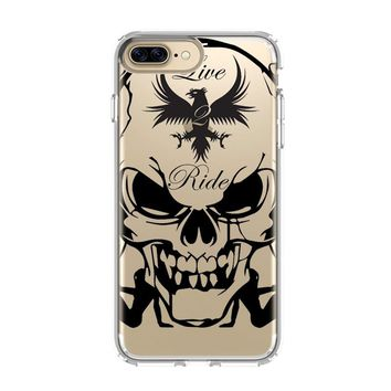 HARLEY DAVIDSON SKULL ART iPhone 4/4S 5/5S/SE 5C 6/6S 7 8 Plus X Clear Case