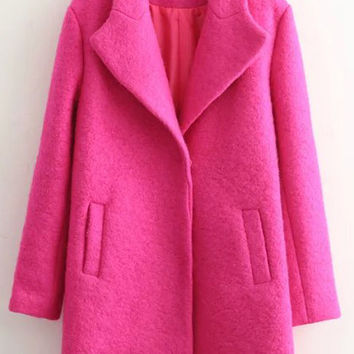 Rose Red Pockets Buttoned Long Sleeve Coat