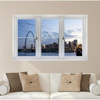 Window Scape St. Louis Arch Dusk #1 Wall Decal Graphic Vinyl Sticker Skyline Theme Mural Home Kids Game Room Office Art Decor