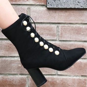 New Black Square Toe Chunky Pearl Fashion Ankle Boots