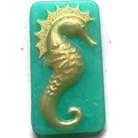 Sea Horse Soap -  Sea Shell Soaps - Ocean Soap - Ocean Bathroom Decor - Beach Wedding Favors - Aqua and Gold  - Sea Life Soap - Luxury Soap