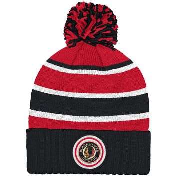 """Chicago Blackhawks Mitchell & Ness NHL """"Quilted Crown"""" Cuffed Knit Hat w/Pom"""