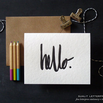 Hello Card Set, Hello Note Set, Hi Card, Handlettered, Lettering Card, Letterpress Card Set (Set of 4 Folded Cards with Envelopes) Black Ink