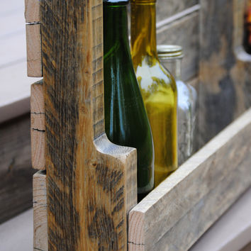 Rustic Natural Wooden Shelf - Hand Crafted from Reclaimed Wood - Natural Organic Wood - Large Shelf - Wine Rack - Book Shelf - Made to Order