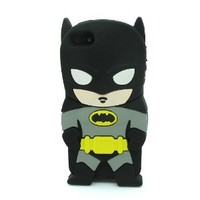 Minidandan Black 3d Cartoon Hero Batman Soft Silicone Back Case Cover Skin for Apple Iphone 4 4s