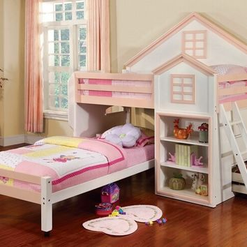 Furniture of america CM-BK131PW Citadel collection pink and white finish wood playhouse design twin over twin loft bed