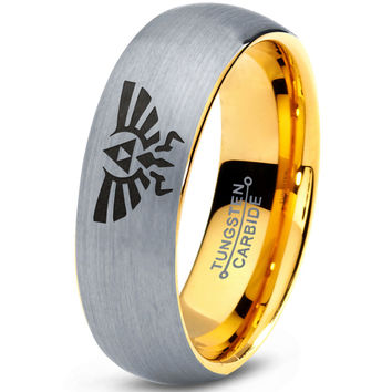 Triforce Hylian 18k Yellow Gold Dome Cut Tungsten Brushed Ring
