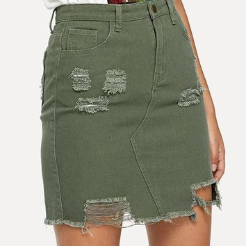 Distress Military Skirt