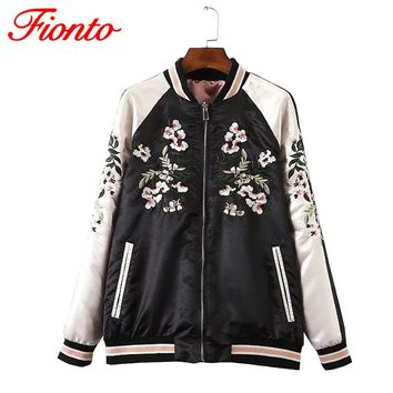 FIONTO Reversible Coat Embroidery Flower Phoenix Bird 2016 Women Bomber Jacket Coat Pilots Outerwear Jacket On Both Sides A155