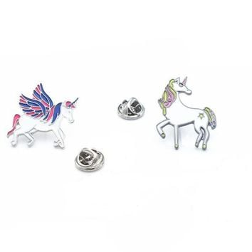 Oly2u New Arrival Uincorn Flying horse enamel collar brooches  Jeans Bag Decoration Accessories  lapel badge BP091-92