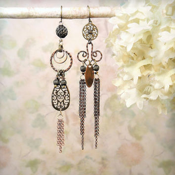 Vortex OOAK Spiral Swirl Assemblage Asymmetrical Earrings Rustic Mixed Metal Dangle Earrings, Romantic Bohemian Gypsy Copper Bronze Earrings