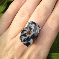 Large Black and Grey Patterned Druzy Geode Slice 925 Sterling Silver Ring Size 9