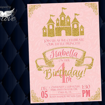 Princess Party Invite | Printable Invitation | Pink and Gold | Custom Invitation | Castle Invite | Girls Party | Birthday Invite