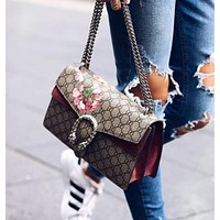 Gucci Print Flower Fashion Women Shopping Leather Tote Handbag Shoulder Bag