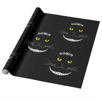 Smiling Cheshire Transparent Cat With Yellow Eyes Wrapping Paper