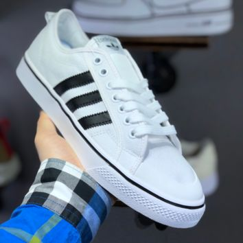 hcxx A1479 Adidas Nizza Blanc Bordeaux LO Campus canvas sneakers with half-cut rubber-covered toe White