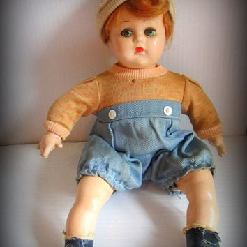 Vintage Madame Alexander Composition Doll Butch All Original Tagged Baby Boy Antique Doll