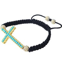 Yellow Gold Tone Cross Turquoise Blue Gem Stones Beaded Adjustable Macrame Unisex Bracelet