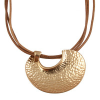 Hammered shell necklace-gold
