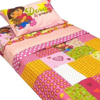 Dora Explorer Puppy Patchwork 5pc Full Bedding Set