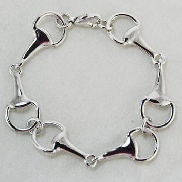snaffle three horse bit bracelet-beautiful handcrafted bit bracelet-horse lovers gift-equestrian bracelet-Lucky Pony Shop