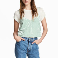 Crushed velvet strappy top - Mint green - Ladies   H&M GB