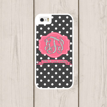Grey Polka Dot Personalized Phone Case, Monogram, Custom IPhone 4  4s, IPhone 5 5s 5c, Samsung Galaxy S3 S4 S5