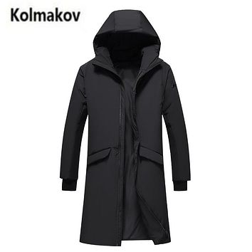 KOLMAKOV 2017 new winter men's thick hooded down jacket parkas,Fashion solid color 90% white duck down coat windbreaker,M-3XL