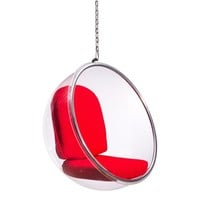 Ikon Modern Furniture Bolo Suspended Chair in Transparent Body, Red Cushion - 501150   The Simple Stores