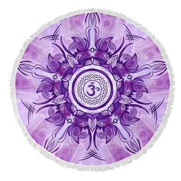 Crown Chakra Round Beach Towel