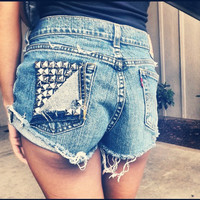 Vintage High Waisted  Studded Shorts