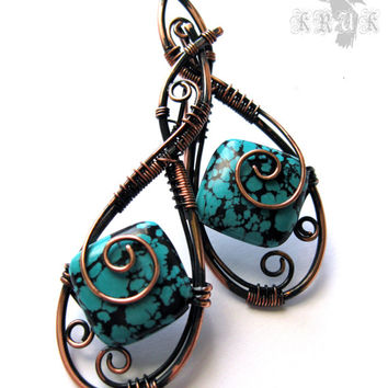 Turquoise wire wrap Copper earrings Copper patina Earrings wire wrap Wire work Turquoise jewelry Handmade earrings Boho fashion Gemstone